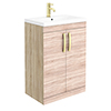 Brooklyn 600mm Natural Oak Vanity Unit with Brushed Brass Handles profile small image view 1