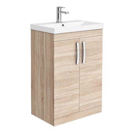 Brooklyn 600 Natural Oak Floor Standing Vanity Unit with Thin-Edge Basin