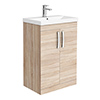 Brooklyn 600 Natural Oak Floor Standing Vanity Unit with Thin-Edge Basin profile small image view 1