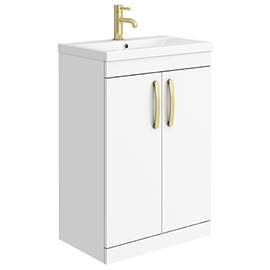 Brooklyn 600mm Gloss White Vanity Unit with Brushed Brass Handles