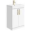 Brooklyn 600mm Gloss White Vanity Unit with Brushed Brass Handles profile small image view 1