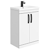 Brooklyn Gloss White Vanity Unit - 600mm Wide with Matt Black Handles profile small image view 1