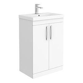 Brooklyn 600 Gloss White Floor Standing Vanity Unit with Thin-Edge Basin