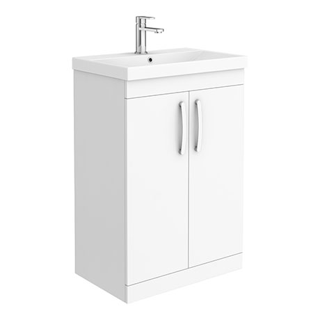Brooklyn 600 Gloss White Floor Standing Vanity Unit with Thin-Edge Basin