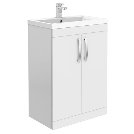 Brooklyn 600mm White Gloss Vanity Unit - Floor Standing 2 Door Unit