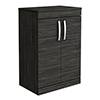 Brooklyn Floor Standing Countertop Vanity Unit - Black - 605mm with Chrome Handles profile small image view 1