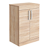 Brooklyn Floor Standing Countertop Vanity Unit - Natural Oak - 605mm with Chrome Handles profile small image view 1