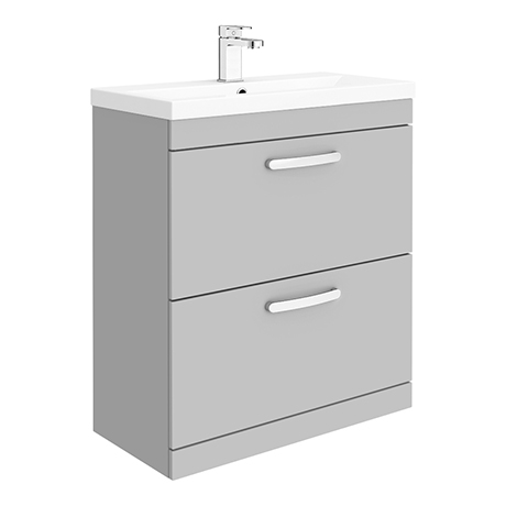 Brooklyn 800mm Grey Mist Vanity Unit - Floor Standing 2 Drawer Unit