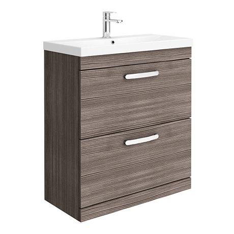 Brooklyn 800 Grey Avola Floor Standing Vanity Unit with Thin-Edge Basin