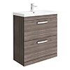 Brooklyn 800 Grey Avola Floor Standing Vanity Unit with Thin-Edge Basin profile small image view 1