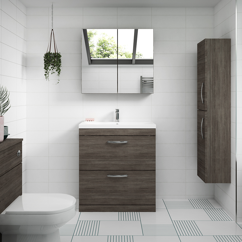 Brooklyn 800mm Grey Avola Vanity Unit - Floor Standing 2 Drawer Unit | Brands in Focus: Brooklyn Bathrooms