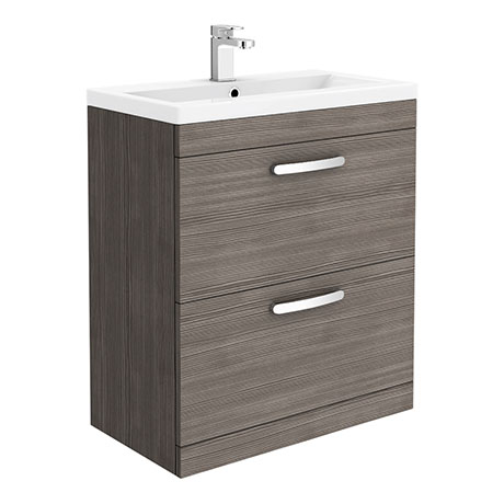 Brooklyn 800mm Grey Vanity Unit - Floor Standing 2 Drawer Unit