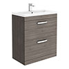 Brooklyn 800mm Grey Avola Vanity Unit - Floor Standing 2 Drawer Unit profile small image view 1