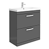 Brooklyn 800 Gloss Grey Floor Standing Vanity Unit with Thin-Edge Basin profile small image view 1
