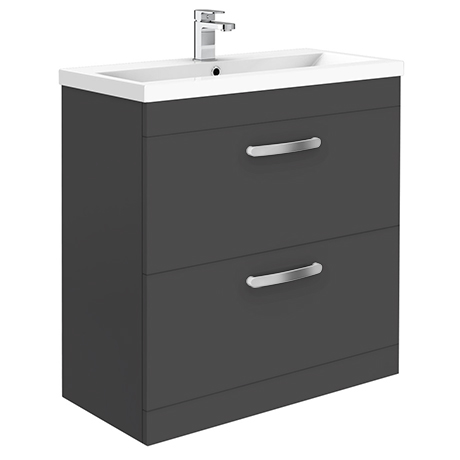Brooklyn 800mm Gloss Grey 2 Drawer Floor Standing Vanity Unit