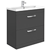 Brooklyn 800mm Gloss Grey 2 Drawer Floor Standing Vanity Unit profile small image view 1