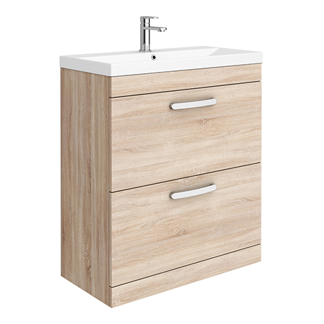 Brooklyn 800 Natural Oak Floor Standing Vanity Unit with Thin-Edge Basin