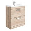 Brooklyn 800 Natural Oak Floor Standing Vanity Unit with Thin-Edge Basin profile small image view 1