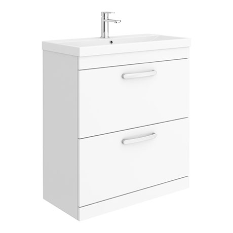 Brooklyn 800 Gloss White Floor Standing Vanity Unit with Thin-Edge Basin
