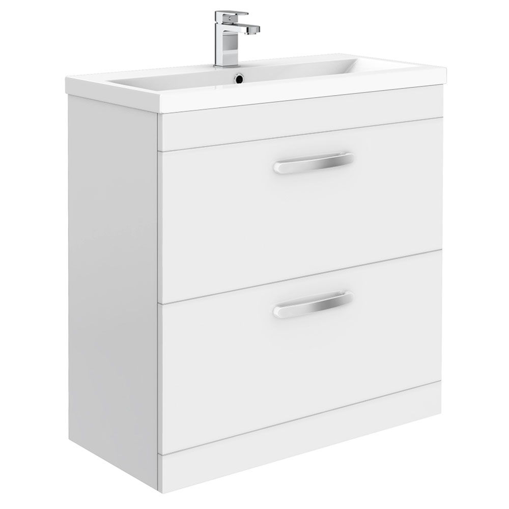 Brooklyn 800mm White Gloss Vanity Unit - Floor Standing 2 Drawer Unit