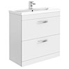 Brooklyn 800mm White Gloss Vanity Unit - Floor Standing 2 Drawer Unit profile small image view 1