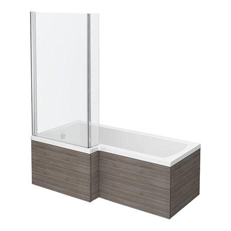 Brooklyn Grey Avola Shower Bath - 1700mm L Shaped inc. Screen + Panel