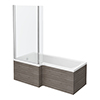Brooklyn Grey Avola Shower Bath - 1700mm L Shaped inc. Screen + Panel profile small image view 1