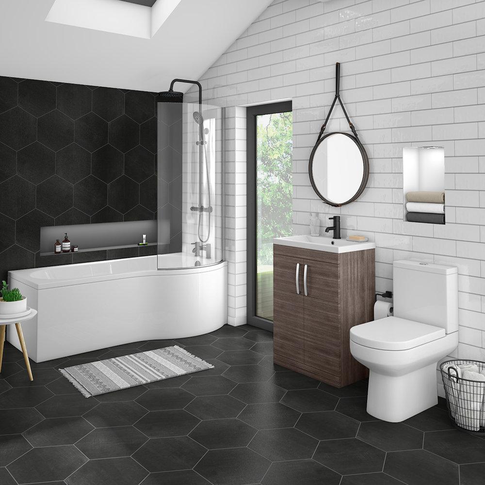 A practical family bathroom layout using the Brooklyn grey avola bathroom suite.