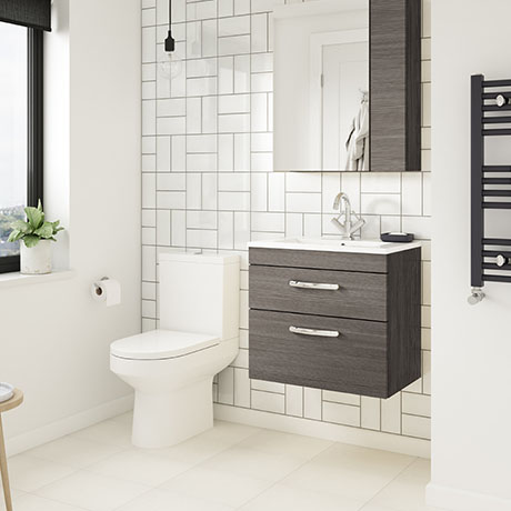 Brooklyn Grey Avola Cloakroom Suite (Wall Hung Vanity + Toilet)