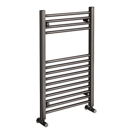 Brooklyn 800 x 500mm Satin Gunmetal Grey Straight Heated Towel Rail