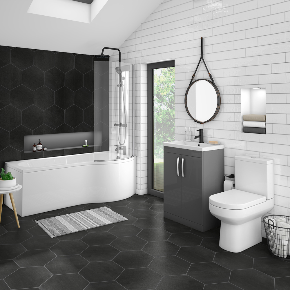 Brooklyn Gloss Grey Bathroom Suite + B-Shaped Bath