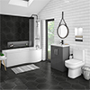 Brooklyn Gloss Grey Bathroom Suite + B-Shaped Bath profile small image view 1