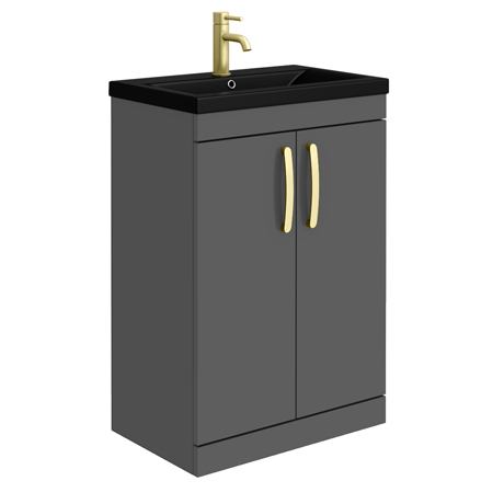 Brooklyn 600mm Gloss Grey Floor Standing Vanity Unit with Matt Black Basin + Brass Handles