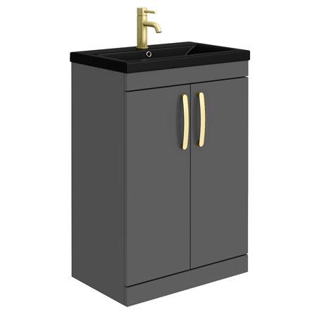 Brooklyn 600mm Gloss Grey Floor Standing Vanity Unit with Matt Black Basin + Brass Handles