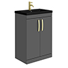 Brooklyn 600mm Gloss Grey Floor Standing Vanity Unit with Matt Black Basin + Brass Handles profile small image view 1