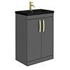 Brooklyn 600mm Gloss Grey Floor Standing Vanity Unit with Matt Black Basin + Brass Handles profile small image view 1