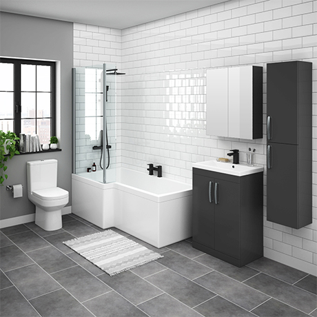 Brooklyn Gloss Grey L Shaped Bath Suite (with Vanity + Tall Cabinet)
