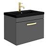 Brooklyn 600mm Gloss Grey Wall Hung 1-Drawer Vanity Unit with Matt Black Basin + Brass Handle profile small image view 1