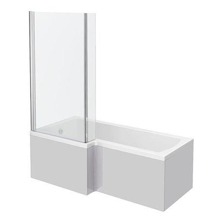 Brooklyn Grey Mist Shower Bath - 1700mm L Shaped Inc. Screen + Panel