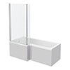 Brooklyn Grey Mist Shower Bath - 1700mm L Shaped inc. Screen + Panel profile small image view 1
