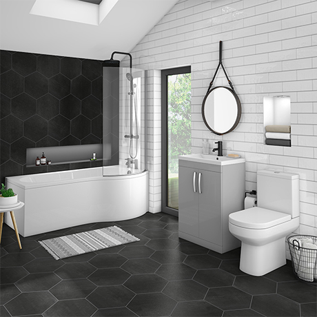 Brooklyn Grey Mist Bathroom Suite + B-Shaped Bath
