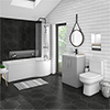 Brooklyn Grey Mist Bathroom Suite + B-Shaped Bath profile small image view 1