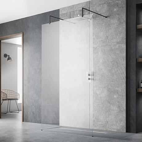 Hudson Reed Free Standing Wet Room Screen with Black Double Support Arms