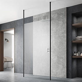 Hudson Reed Free Standing Wet Room Screen with Black Double Ceiling Posts