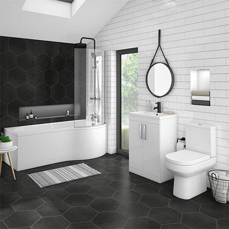 Brooklyn Gloss White Bathroom Suite with B-Shaped Bath (Inc. Curved Screen & Acrylic Panel)