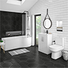 Brooklyn Gloss White Bathroom Suite + B-Shaped Bath profile small image view 1