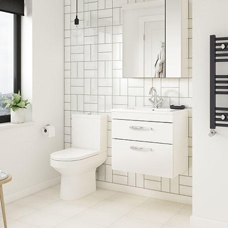 Brooklyn Gloss White Cloakroom Suite (Wall Hung Vanity + Toilet)