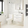 Brooklyn Gloss White Cloakroom Suite (Wall Hung Vanity + Toilet) profile small image view 1