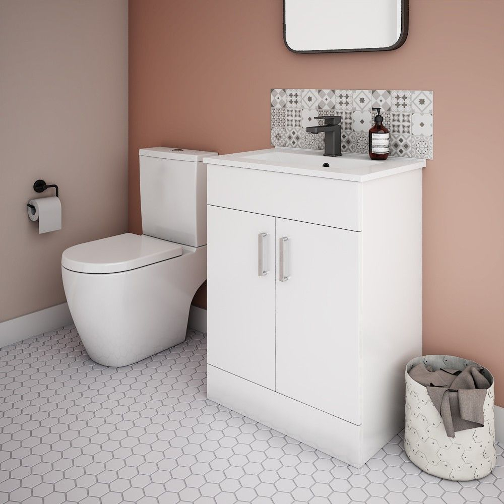Bianco Gloss White Floorstanding Vanity Unit + Close Coupled Toilet