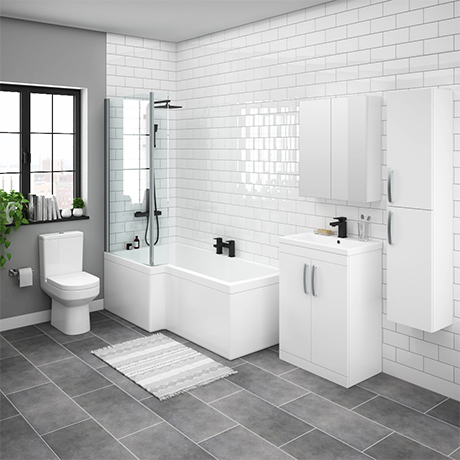 Brooklyn Gloss White L Shaped Bath Suite (with Vanity + Tall Cabinet)